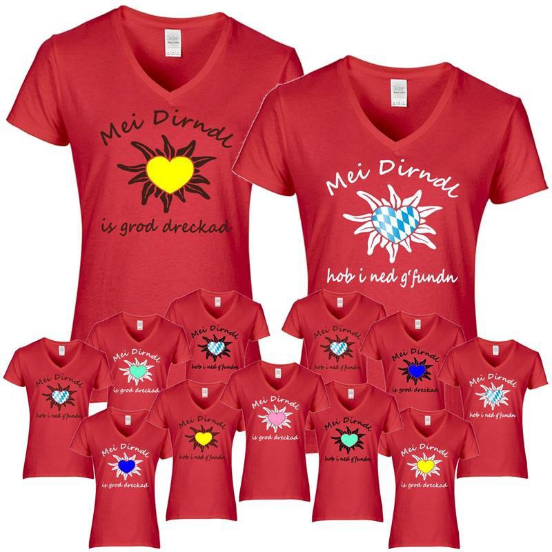 Ersatztracht Damen T-Shirt Mei Dirndl...Edelweiß rot Tracht Bluse Wiesn Herz